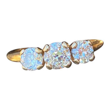 1.16 CTW Diamond Ring 14k Yellow Gold Old European Cut Trilogy Past Present Future Three Stone Ring
