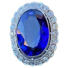 Art Deco Platinum 20 carat Synthetic Sapphire and Diamond Cocktail Ring