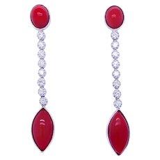 Vintage Diamond Aka Coral 18 kt Gold Drop Earrings