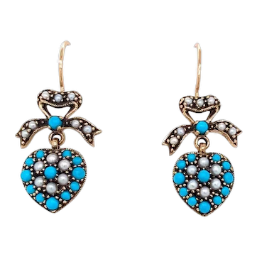 Victorian Style Turquoise Pearl Heart Drop Earrings