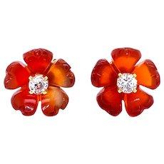 Diamond Carnelian Stud Flower Earrings