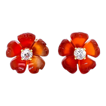 Diamond Carnelian Stud Flower Earrings