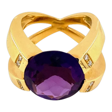 Designer Amethyst Diamond Ring