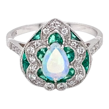 Estate Opal Diamond Emerald Cocktail Ring