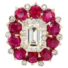 18 kt Gold Diamond Ruby Cocktail Ring