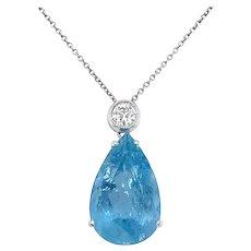 Vintage Aquamarine Diamond Pendant Necklace