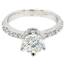 HRD Antwerp Certified 1 Carat Diamond Gold Engagement Ring