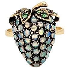 Opal Tsavorite Strawberry Design Ring