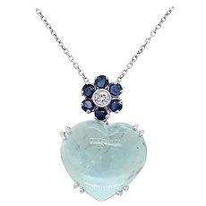 Estate 7 Carat Heart Cut Aquamarine Diamond Pendant 18 kt Gold Necklace