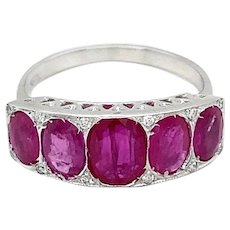 Art Deco Ruby Diamond 18 KT Gold Band Ring