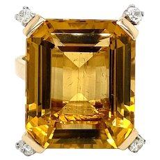 Retro 18 Carat Citrine Diamonds Ring