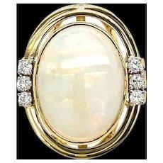 Estate Opal Diamond 14 kt Gold Ring