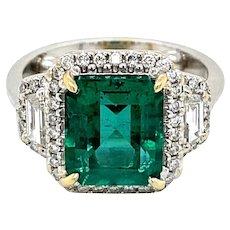 Estate 3.33 Carat Natural Emerald Diamond Ring