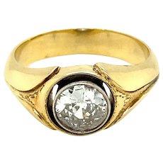 Retro 1.10 Carat Diamond Solitaire Unisex 18 kt Gold Ring