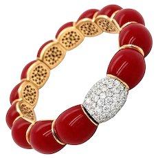 Designer Italian Enamel Diamond Gold Spring Cuff Bracelet
