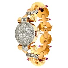 Retro Ladies Diamond Sugar Loaf Ruby Yellow 18 kt Gold Bracelet Watch