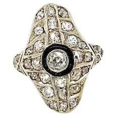 Art Deco 1.50 Carat Diamond Onyx Plaque 950/°°° Platinum Ring