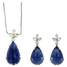 76 Carat Tanzanite Diamonds 18 kt Gold Vintage Parure