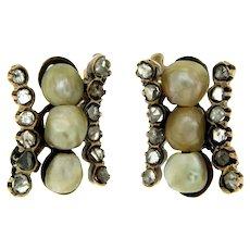 Antique Pearl Diamond Earrings