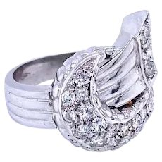 Art Deco Style Diamond 18 kt Gold Bow Ring