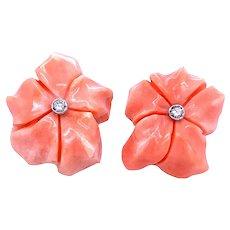 1960s Pink Coral Diamond Stud Earrings