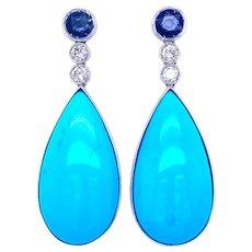 Estate Turquoise Sapphire Diamonds Drop Earrings