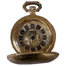 Sears Vintage Swiss Made Roman Hand Winding Gold Tone Pocket Watch ~Works~