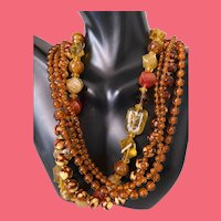 Vintage Chunky Celluloid Mixed Plastics Beaded 2 Strand Necklace ~Estate Find~