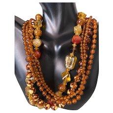 Vintage Kramer Celluloid Plastic Beaded Multi-strand Necklace ~Signed~