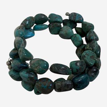 Blue Turquoise Memory Wire Bracelet Rough Nugget Beads Healing Gemstone