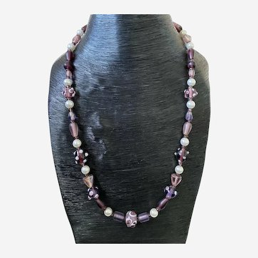 "Purple Beaded Murano Lampwork Necklace 925 Silver Clasp 23"" Long"