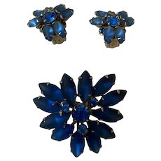 Vintage Rhinestone Prong Brooch Pin & Clip on Earrings Frosted Sapphire Blue