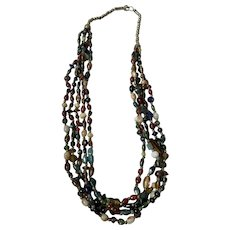 """Vintage Blown Glass Murano Multi Strand Beaded Necklace 24"""" Long"""