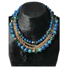 """Vintage Beaded Chain Multi Strand Choker Necklace 16"""" Long"""