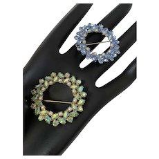 10k Gold Filled Crystal Rhinestone Wreath Brooch Pins Set of 2