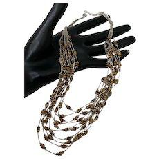 "Navajo Liquid 925 Sterling Silver 10 Strand Bead Necklace 18"" Long 45 Grams"