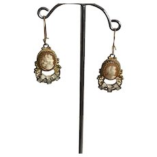 Antique Fine Silver 900 Cameo Drop Dangle Earrings 2 Sets