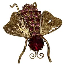 ~Vintage 3D Colorful Rhinestone Bug Insect Beetle Fly Wasp Brooch Pin~