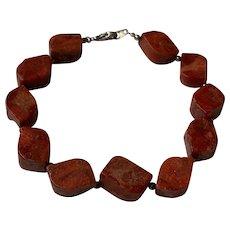 """Vintage Red Sponge Coral Genuine Natural Beaded Sterling Silver Bracelet 7.5"""""""