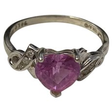 10K White Gold Pink Heart Topaz Diamond Accent Ring ~Size 8.75~