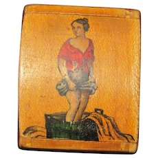 Tiny risqué antique wood foil lined snuff box