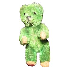 "Miniature Emerald Green Schuco ""mascot' type  teddy bear"