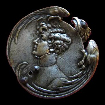 Antique Silvered button depicting Sarah Bernhardt as L' Aiglon c1900