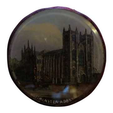Antique Glass pearlised pin wheel depicting two scenes of London
