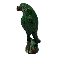 """Antique Chinese Qing Dynasty  19c Sancai Green Glazed Pottery Roof Tile - Parrot - 9"""" Tall"""