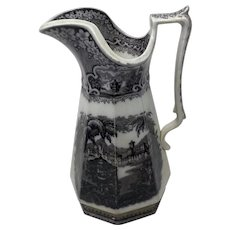 """Mulberry Transferware Pitcher - Goodfellow Allegheny Pattern - 11 1/2"""" Tall - Mid 1800s"""