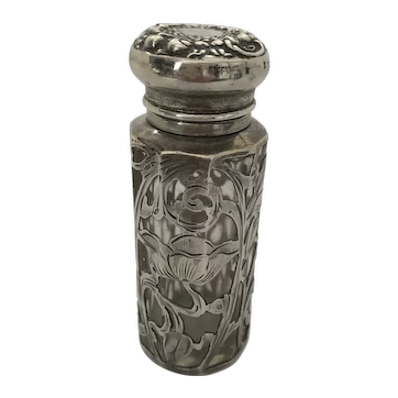Sterling Silver Overlay Smelling Salts or Perfume Bottle