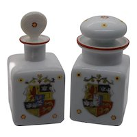 Vintage Porcelain Milk Glass Perfume Bottles/Decanters - a Pair