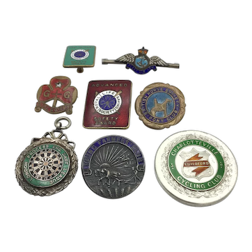 Eight Vintage 1940s and 50s Badges and Medals