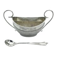 Antique Sterling Silver Salt Bowl and Spoon